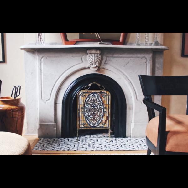 Glenn Olcerst Stonework Mosaic Fireplace