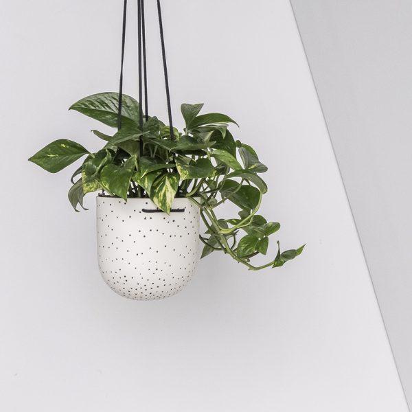 Stak Ceramics Black and White Dot Hanging Planters