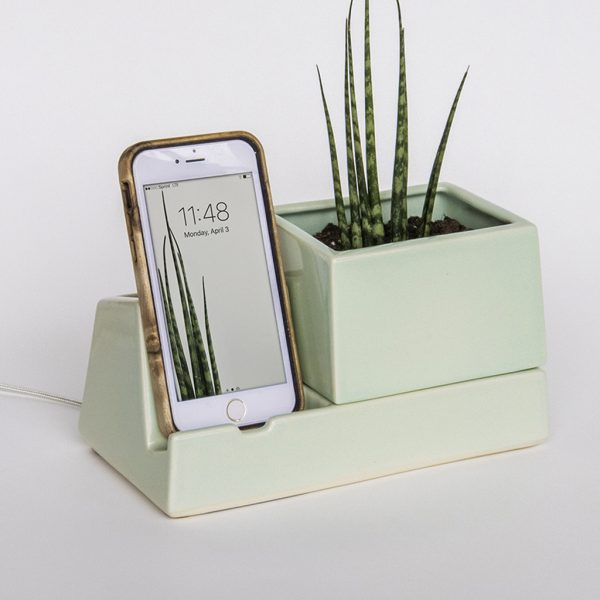 Stak Ceramics Sprout Planter Phone Dock
