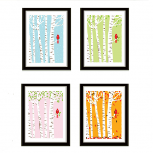 strawberryluna Cardinal Seasons Mini Print Set