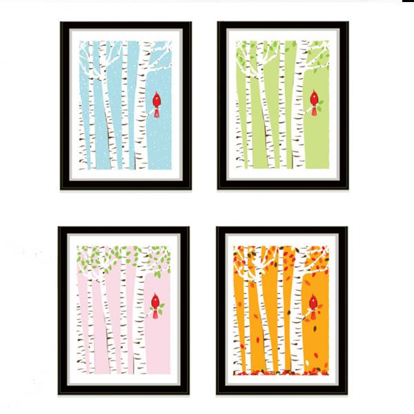 strawberryluna Cardinal Seasons Mini Print Set