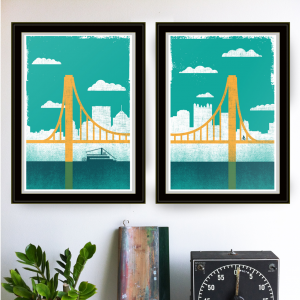 strawberryluna Pittsburgh City of Bridges Print Diptych