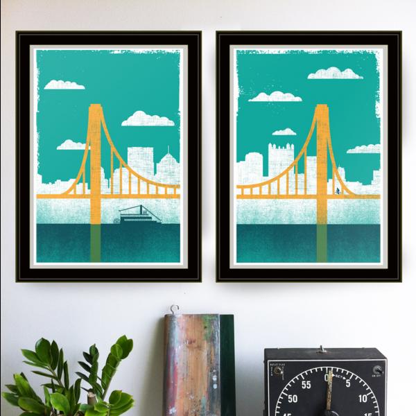 strawberryluna Pittsburgh City of Bridges Print Diptych